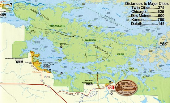 Location of Ash Trail Lodge Voyageurs Map Snowmobile Map
